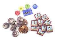 Настольная игра - Santiago de Cuba (Сантьяго-де-Куба): компоненты игры маркеры, жетоны, монеты